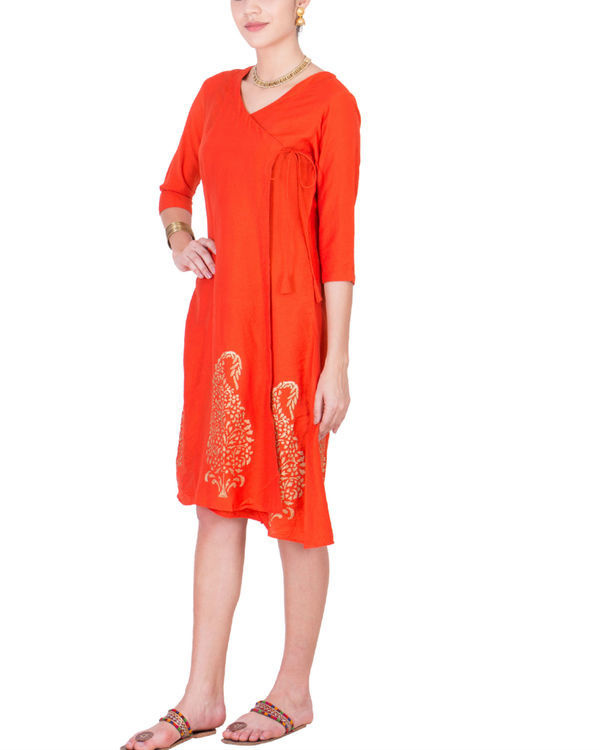 Orange angrakha dress 1