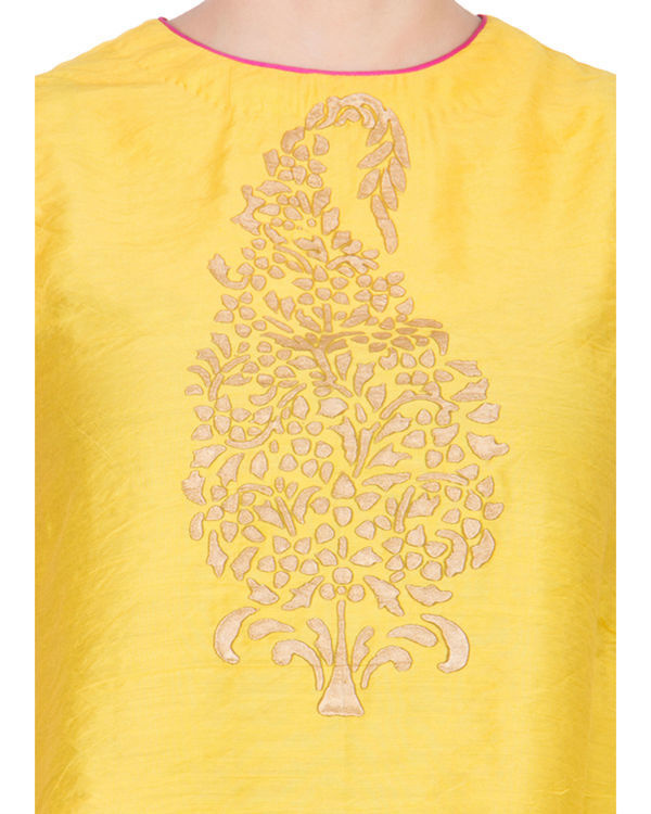 Yellow block printed top 3