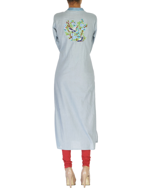 Grey embroidered kurta 1