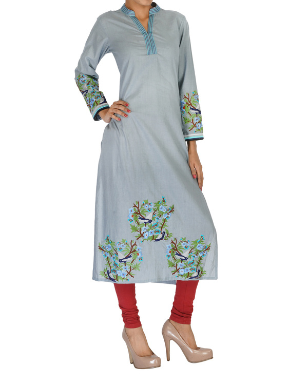 Grey embroidered kurta 2
