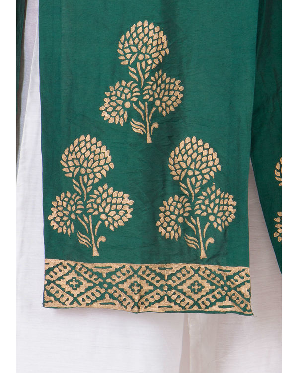 Green hand block printed jacket 3