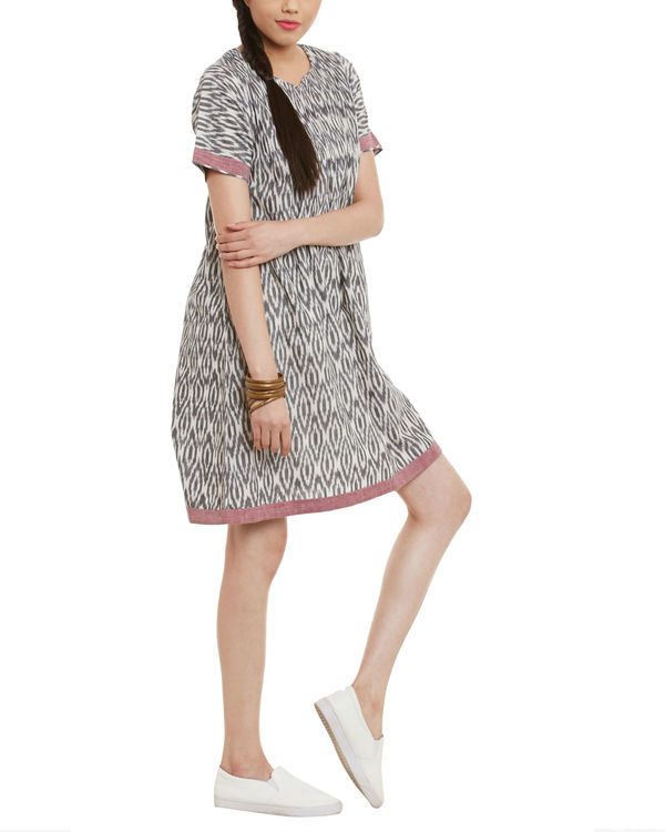 Grey maroon ikat dress 1