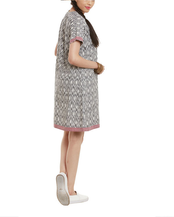 Grey maroon ikat dress 2