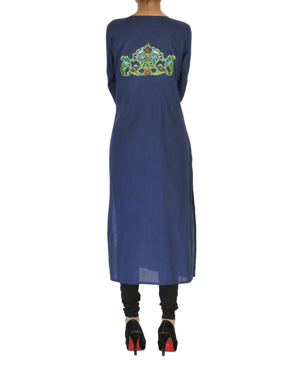 Navy embroidered kurta 1