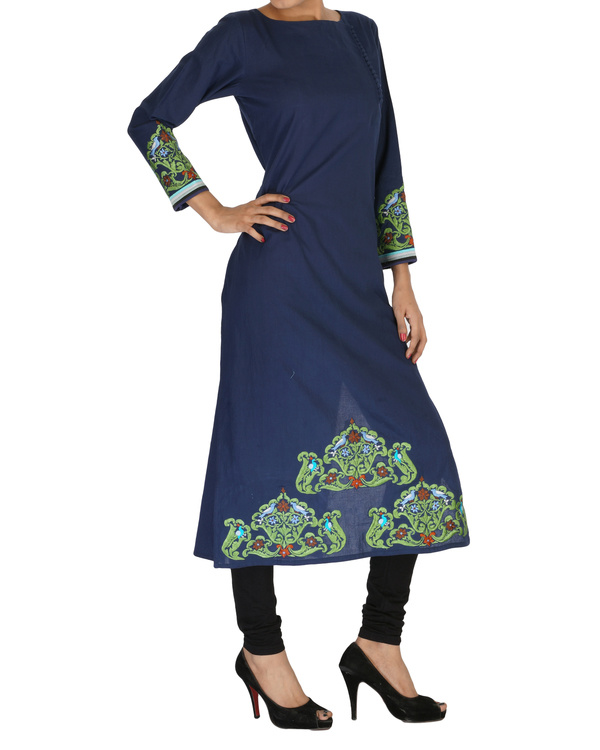 Navy embroidered kurta 2