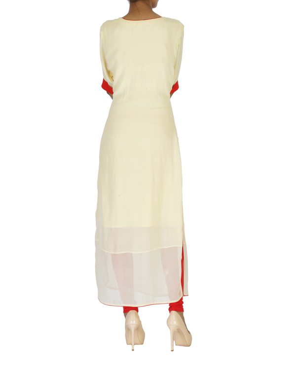Sailor neck cream kurta 1