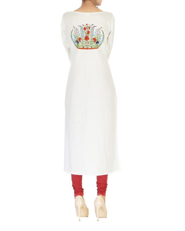 Off white embroidered cotton kurta 1