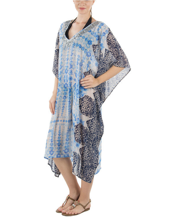 Blue rose kaftan 1