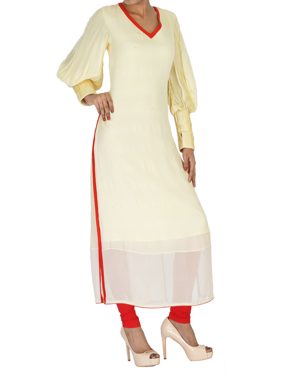 Cream v-neck  kurta 2