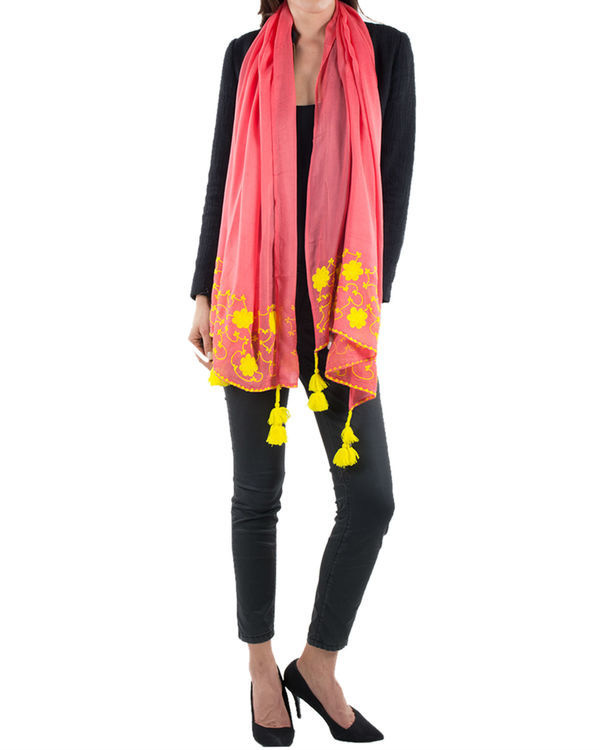Coral embroidered stole 1