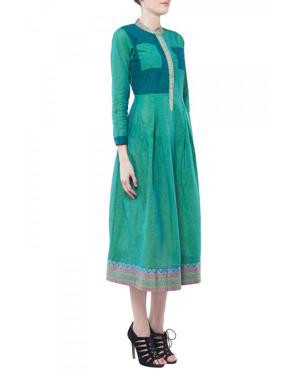 Green mangalgiri dress 1