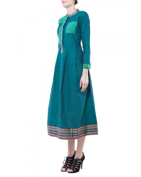 Teal mangalgiri dress 1