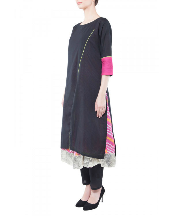 Set of black kurta with pink inner 1