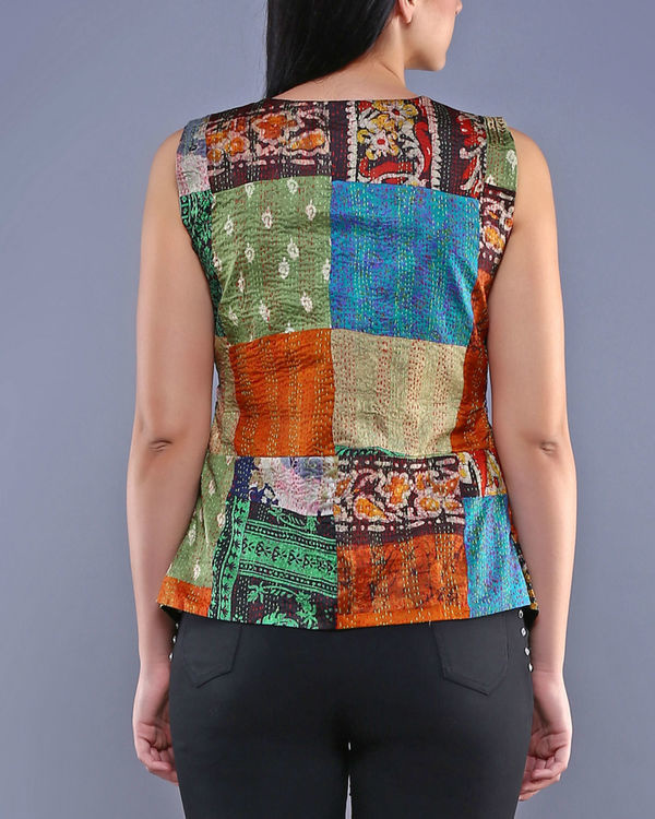 Vintage kantha pointed peplum top 1