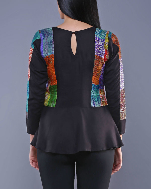 Black kantha peplum top 1