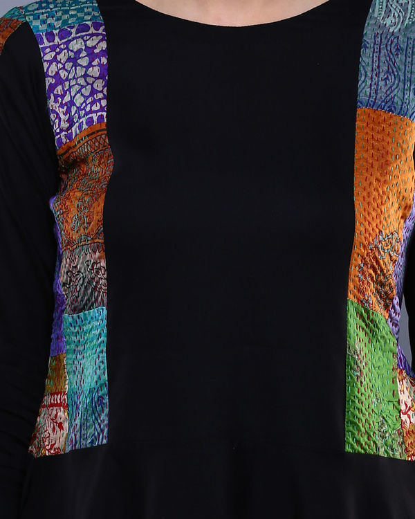 Black kantha peplum top 2