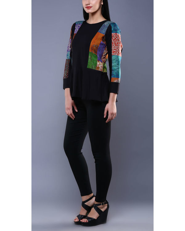 Black kantha peplum top 3