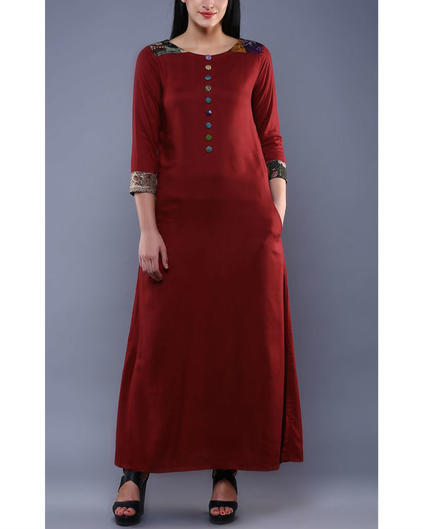 Maroon kantha dress 1