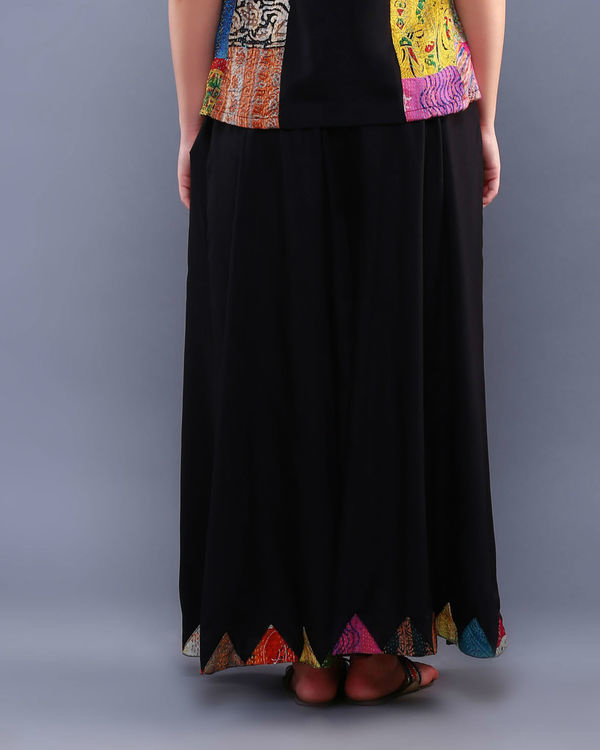 Black patch palazzo pants 1