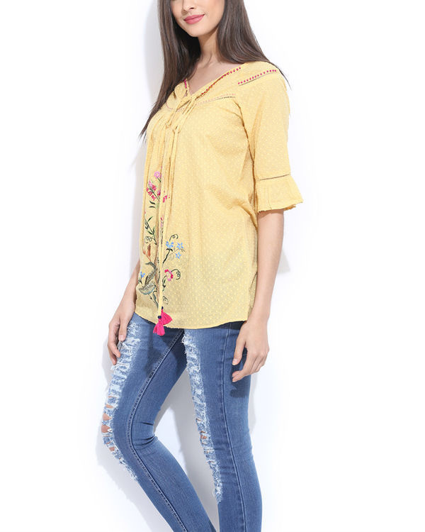 Yellow embroidered top 1