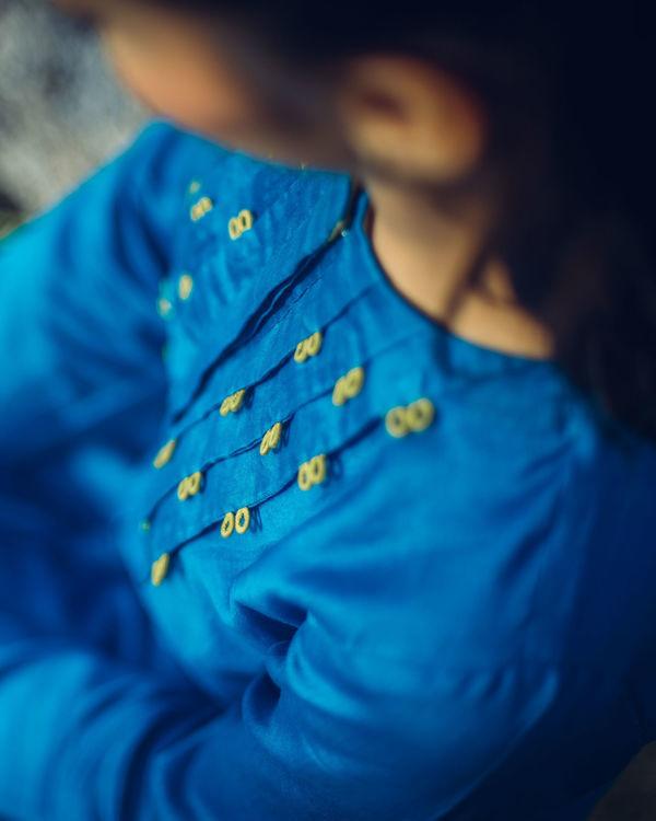 Blue pleated kurta 3