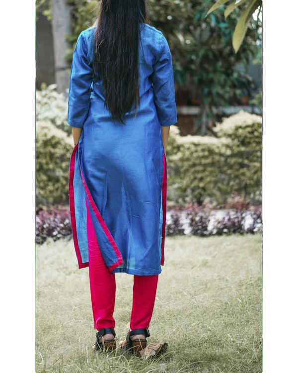 Blue chanderi pleated kurta 1
