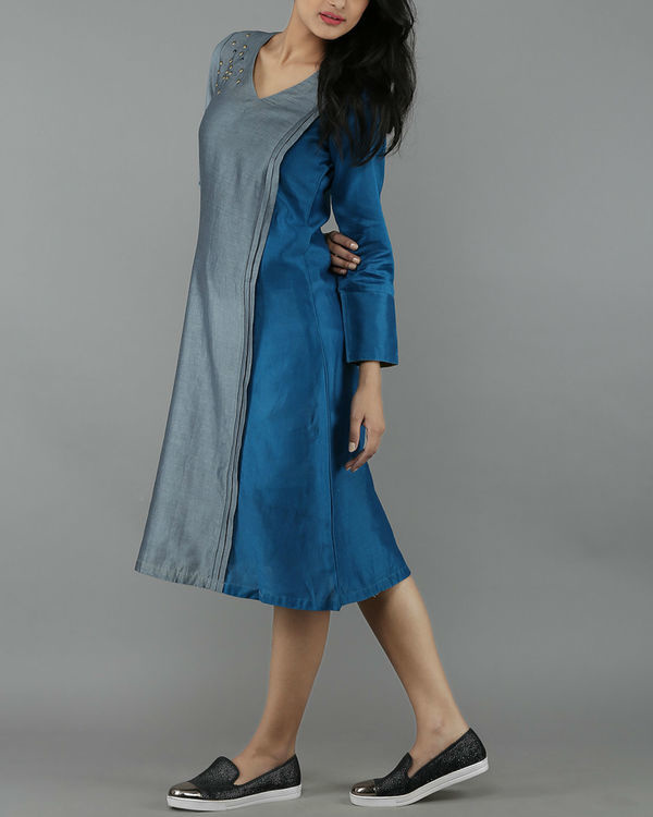 Blue and grey chanderi dress 1