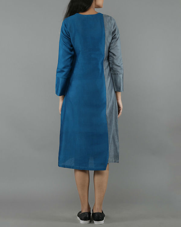 Blue and grey chanderi dress 2