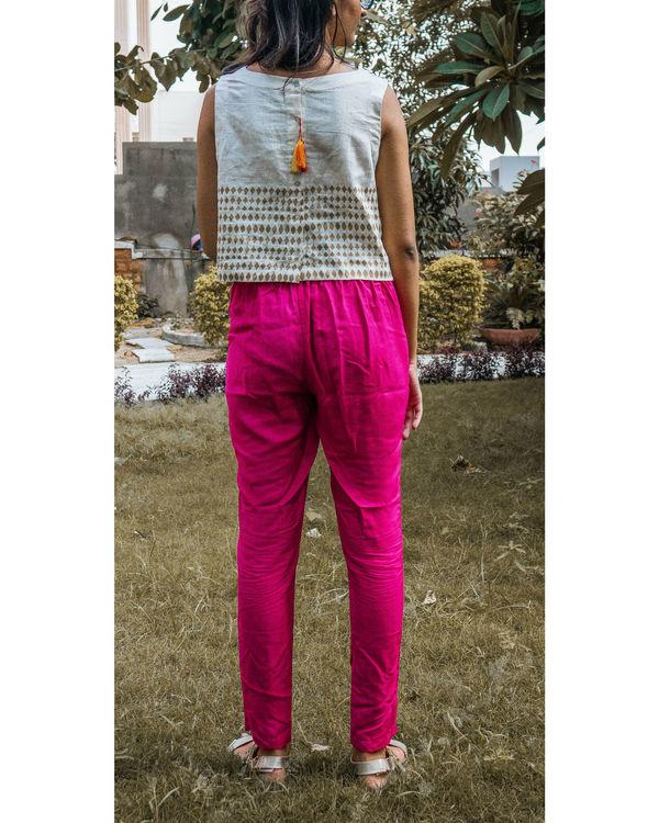 Pink tussar trouser 1