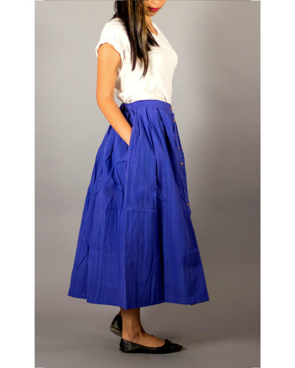 Blue buttondown skirt 1
