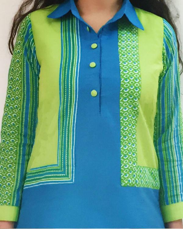 Blue green kurta set 1