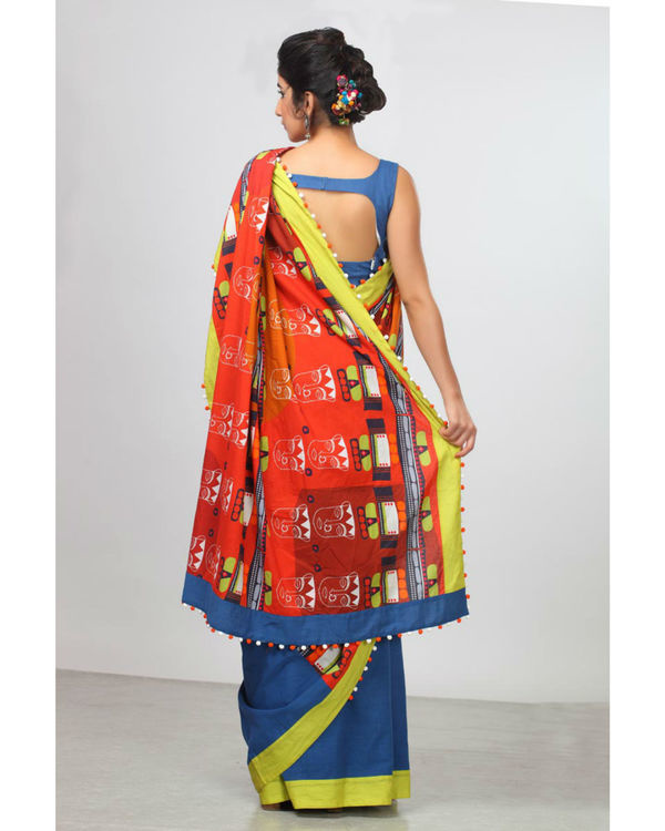 Urban blue and bright rust sari 1