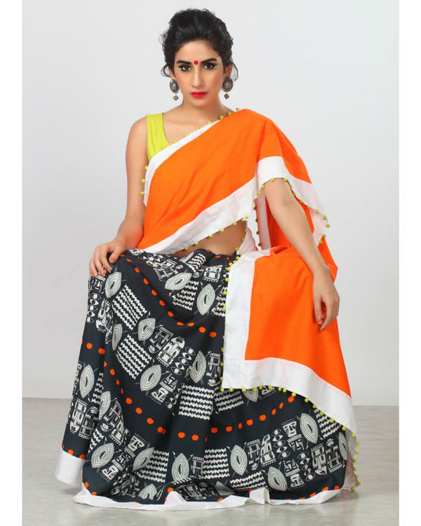 Persimmon orange sari 2