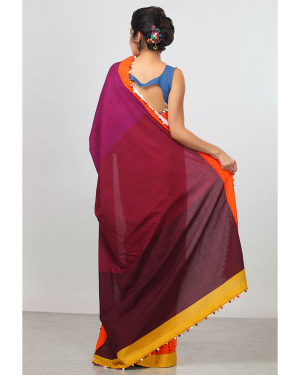 Shades of plum and orange sari 1