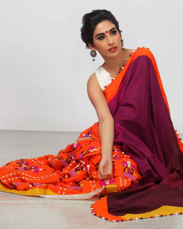 Shades of plum and orange sari 2