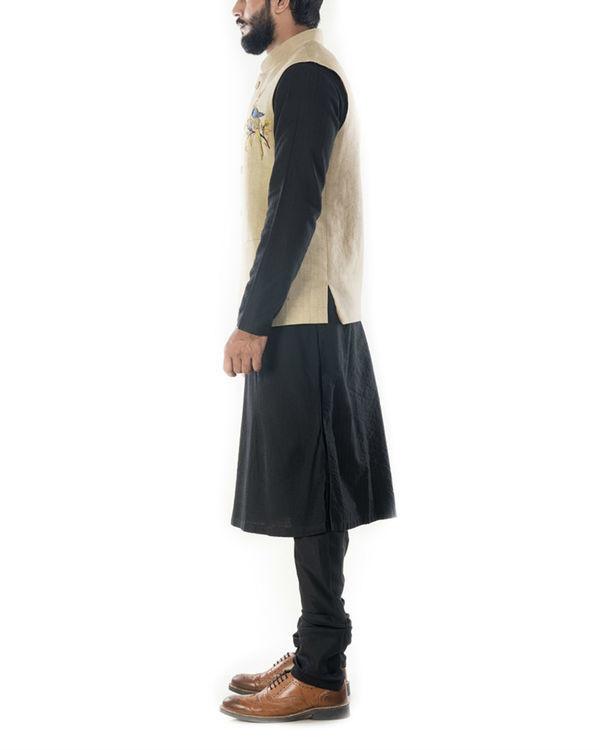 Black solid kurta with beige waistcoat 1