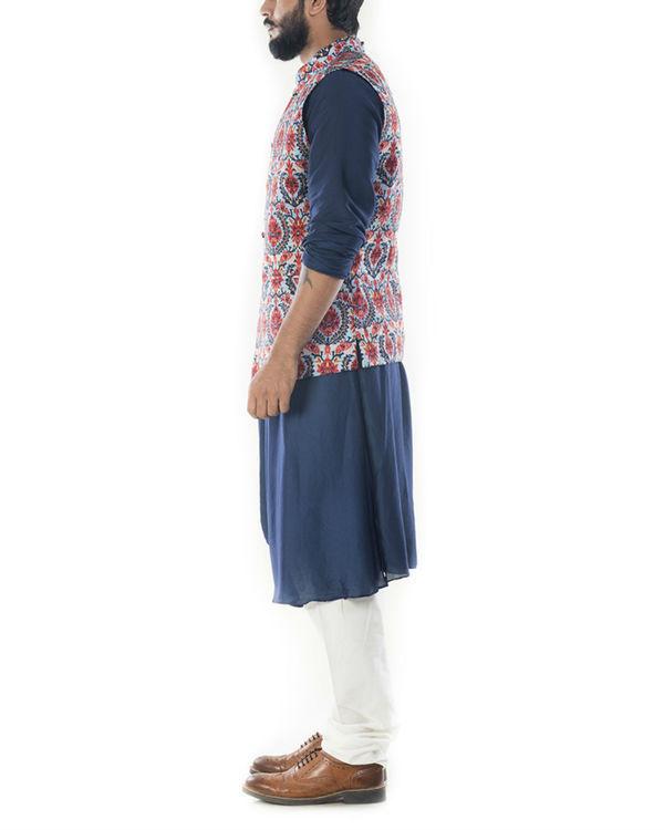 Royal blue cowl drapped kurta with printed  waistcoat 1
