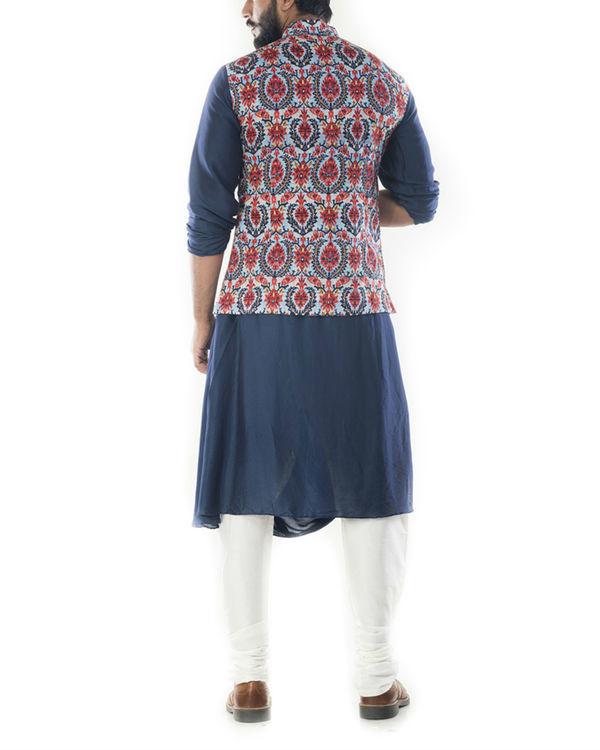 Royal blue cowl drapped kurta with printed  waistcoat 2