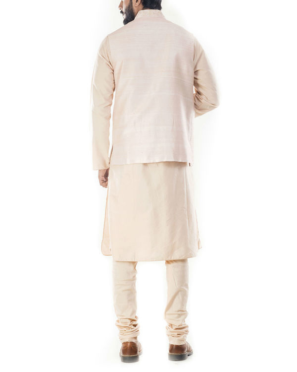 Light beige kurta with peach jacket 2