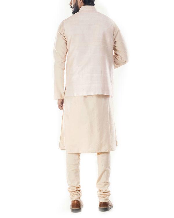 Light beige kurta with peach jacket 2