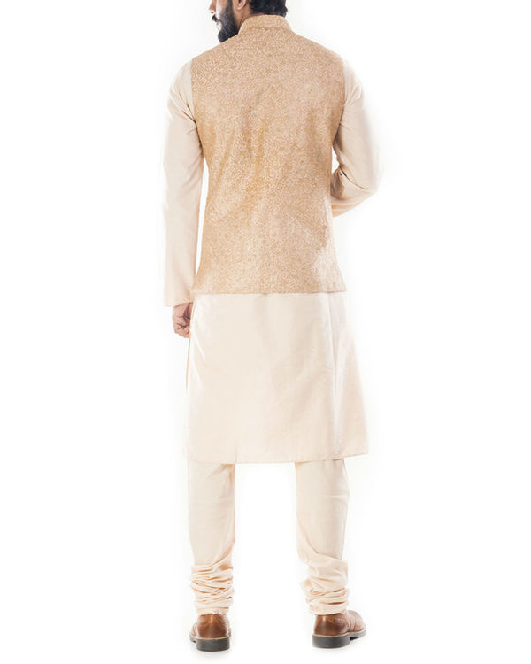 Light beige kurta with golden peach jacket 2