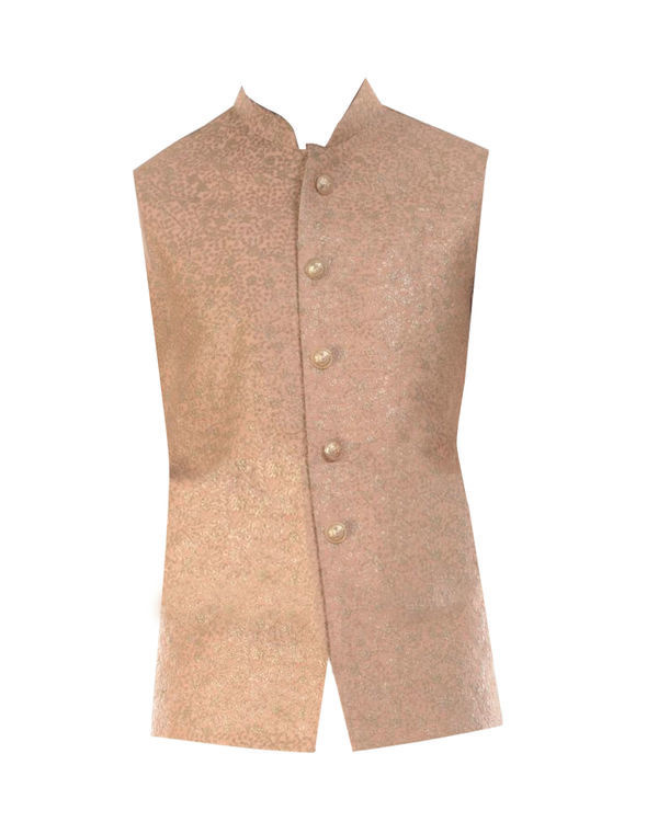 Light beige kurta with golden peach jacket 3
