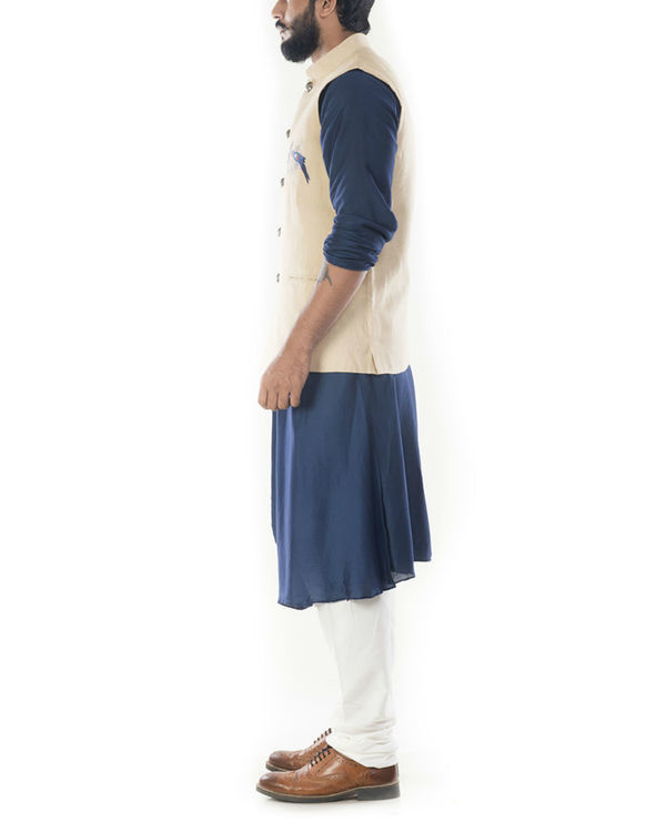 Blue cowl draped kurta with beige jacket 1