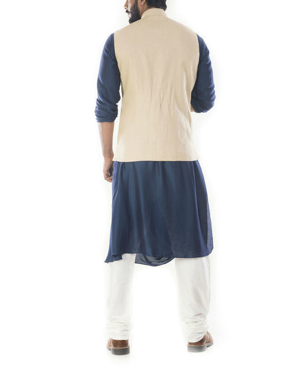 Blue cowl draped kurta with beige jacket 2