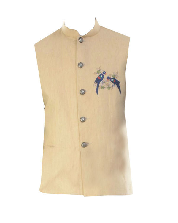 Blue cowl draped kurta with beige jacket 3