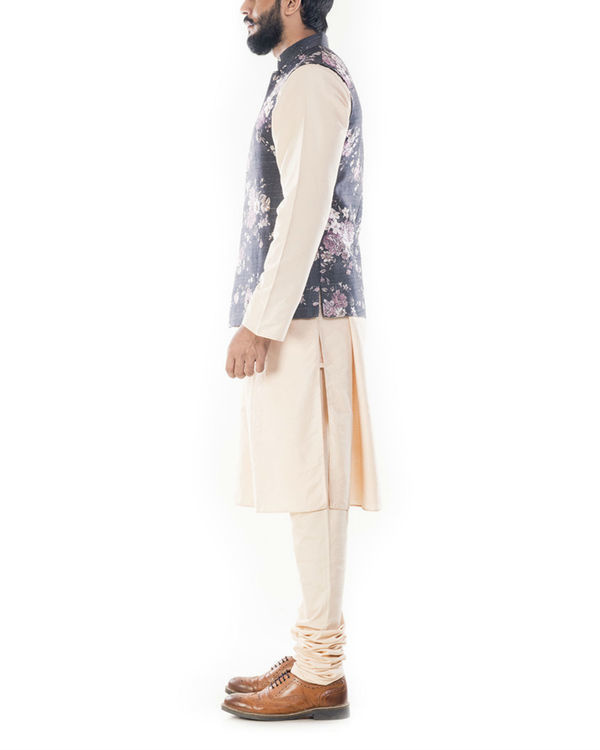Light beige kurta with ivory floral printed jacket 1