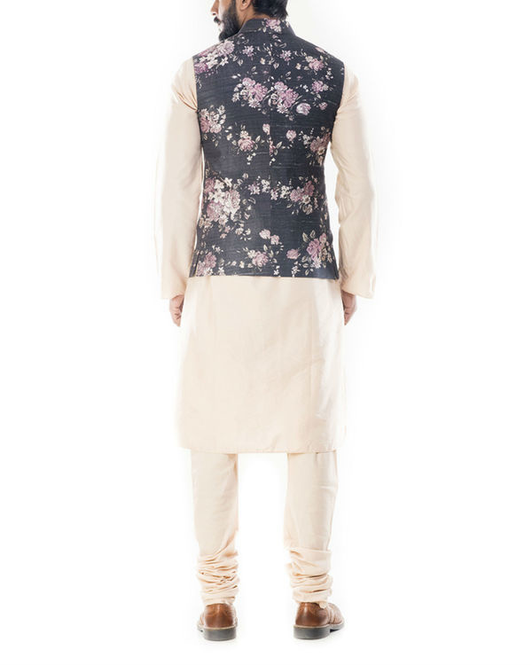Light beige kurta with ivory floral printed jacket 2