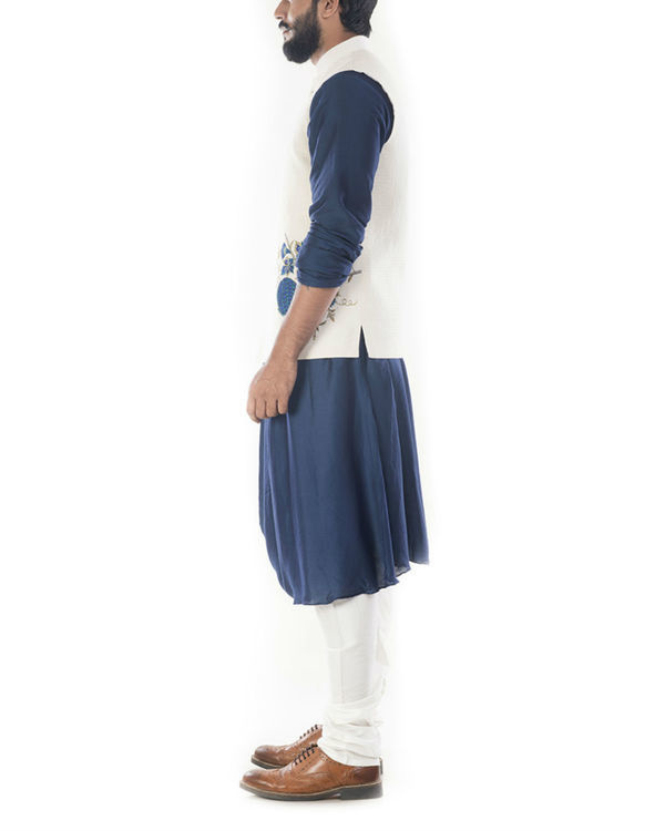 Blue cowl draped kurta with light cream jacket 1