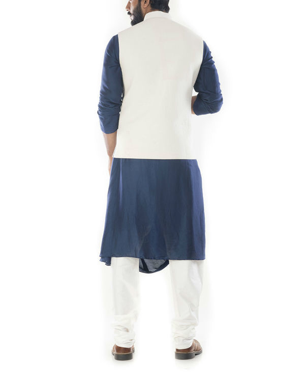 Blue cowl draped kurta with light cream jacket 2