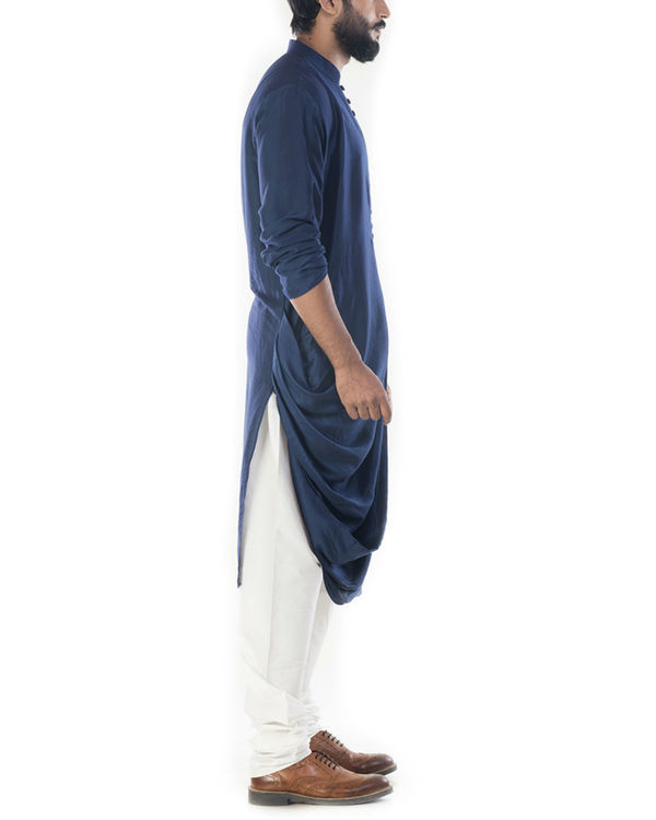 Blue cowl draped kurta with churidar pants 1